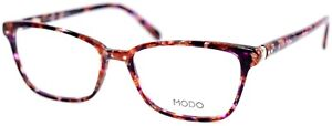 MODO 6522 HNYMB Honey Plum Marble Rectangular Womens Eyeglasses 52-17-140 Japan