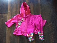 Size 3-6m pink EMBROIDERED HOODIE PANT set with RUFFLES by GYMBOREE