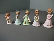 5 Enesco Figurines - Growing Up Girls Birthday Years. 1, 2, 3, 4, 5 - 3 aa kge