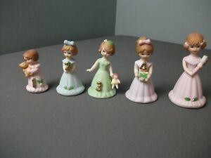5 Enesco Figurines - Growing Up Girls Birthday Years... 1, 2, 3, 4, 5 - 3 aa kge