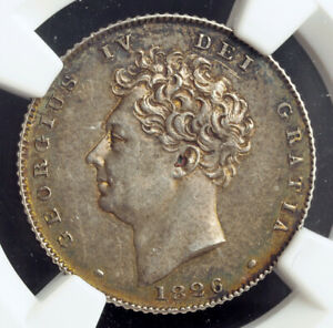"""1826, Great Britain, George IV. Nice Silver """"Bare Bust"""" 6 Pence Coin. NGC AU-58!"""