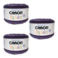 Lot of 3 Caron Big Cakes Yarn - Grape Jelly - Acrylic - Each 10.5 oz, 603 yards