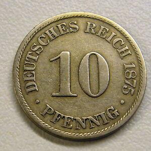 1875 B German 10 Pfennig Coin XF