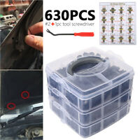 630Pcs Car Body Trim Clips Retainer Bumper Rivets Screw Panel Push Fastener Kits