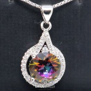 2CT Round Tourmaline CZ Halo Pendant Necklace Women Jewelry White Gold Plated