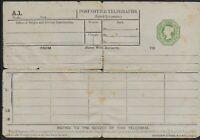 POSTAL STATIONERY-Unused Inland Telegraph Form. Unusual Item. Ref1273