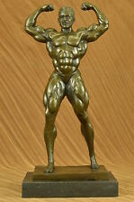 Strong Muscle Man Body Builder Athlete Flexing Bronze Statue Figurine Sculpture