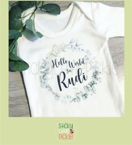 Hello World Personalised Baby Announcement Babygrow Sleepsuit Baby Grow