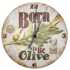 Uhr Metall Relief Born to be Olive Küchenuhr Vintage Retro , Natives