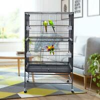 "52"" Folding Wire Bird Cage With WheelsPet Products Wrought Iron Flight Cage"
