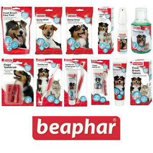 Beaphar Dog & Cat Dental Sticks Toothbrush Toothpaste Fresh Breath Spray Treats