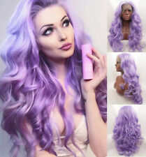 AU STOCK Sexy Purple Synthetic Lace Front Wigs Resistant Full Wig Wavy Hair