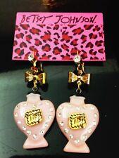 E578 Betsey Johnson Pink Tea Party Lips Perfume Bottle Bow Earrings  US