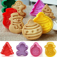 Xmas Tree Snowman Biscuit Cookies Fondant Cake Plunger Cutter Mold DIY Tools