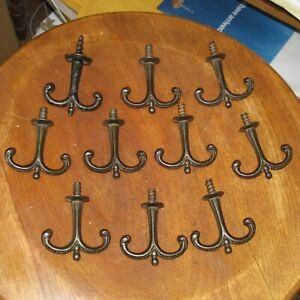 10 Matching Antique Black Cast Iron Coat or Hat Ceiling Hooks, 2 Inch