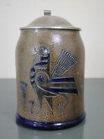 Krug,Wim Mühlendyck,Töpferhof Mühlendyck,Westerwald,Hahnmotiv,Keramik,H: 16,9 cm