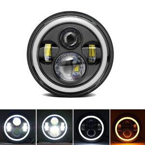"7"" Round Auto cars LED Hi/Lo Beam Headlight DRL Angel Eye Dual Color Waterproof"