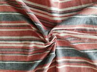 Multi Stripe Linen Blend Fabric/Material - Red, Grey - shirts, blouses, trousers
