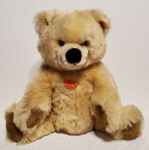"Steiff Bean Filled Cuddly Bear, 123795, Made in 2001, 11"", Cream Woven Fur, TA"
