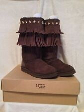 Womens UGG Jimmy Choo Sora Chocolate Fringe Suede Boots Size 7 LIMITED EDITION