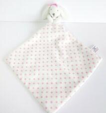 Next white pink bunny rabbit polka dot baby soft comforter toy blankie doudou