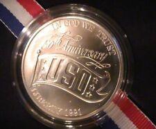 1991-D Uncirculated USO Silver Dollar Coin Box and COA
