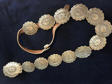 """concho belt ,  brown leather, 12 conchos 2""""x21/4'large one 3""""x2 3/4"""" lenth 42"""""""