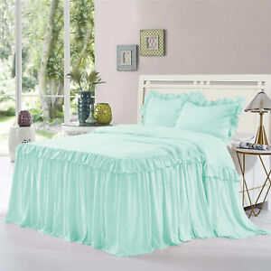 """Double Ruffle Bed Spread/Bed Cover 20"""" drop 800TC Egyptian Cotton ALL SIZE&COLOR"""