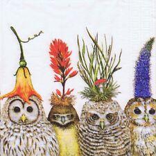 SERVIETTES EN PAPIER HIBOU CHOUETTE OISEAUX EN FLEURS. PAPER NAPKINS OWL FLOWERS