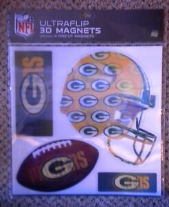 2 Packs of NFL Green Bay Packers Diecut Ultraflip 3D Magnets Aaron Rodgers