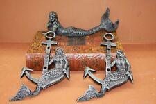 (3), Salvaged-look Mermaid Figurine | Mermaid With Anchor Wall Hooks, Cast Iron