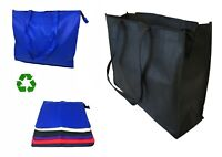 "Large Big  20"" Zippered Reusable Grocery Shopping Tote Storage Bags With Gusset"