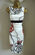 Karen Millen White Graphic Floral Rose Print Pencil Wiggle Dress Size 14