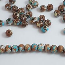 30pcs Brown, Blue, Yellow & White Mottled Wooden Round Beads 6x5mm - B0119284