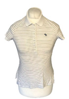 Abercrombie & Fitch Women's Polo T Shirt White Blue Striped Large