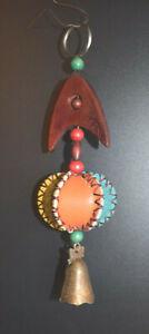 Handmade Leather & Wood Fish Key Chain / Key Ring