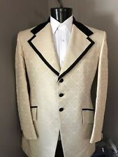 Vintage Brocade Ivory Tuxedo coat with black velvet lapel made by Lord West