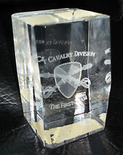 """Army """"1st. Cavalry Division"""" The First Team 3D Laser  Etched Crystal Paperweight"""