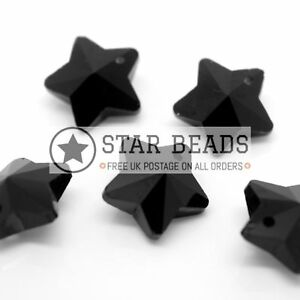 10 X CRYSTAL 14MM FACETED GLASS STAR JEWELLERY MAKING PENDANTS JET