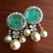 Green Pearl Round Shaped Pearl Beautiful Fashion Earring In 925 Sterling Silver