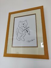 Original Signed and Framed Tony Hart Cat and Fiddle Cartoon Drawing Artwork
