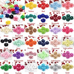 """Multicolor 50/100X 1"""" Satin Ribbon Flowers with Crystal Bead Appliques DIY Craft"""