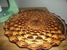 VINTAGE INDIANA GLASS CO. WHITEHALL PATTERN PINK FOOTED CAKE TRAY