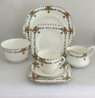 Vintage Old Royal Bone China Tea Set - Trio, Cake Plate, Sugar Bowl & Milk Jug