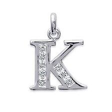 Pendentif Homme Lettre K en Argent et Zirconias - 1A860A11011H - BigBang-Bijoux
