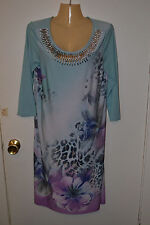 Argenti women's 3/4 sleeve shift dress sz 8 euc