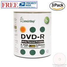 300 Pack Smartbuy DVD-R 16X 4.7GB White Thermal Hub Printable Data Record Disc