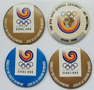 4 x Seoul 1988 Summer Olympic button pin. 64mm,  #2626