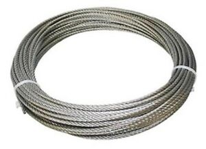 "304 Stainless Steel Wire Rope Cable, 1/8"", 7x19, 50 ft, Made in Korea"