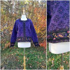 Icelandic design wool knit fair isle embroidered women's sweater cardigan  L